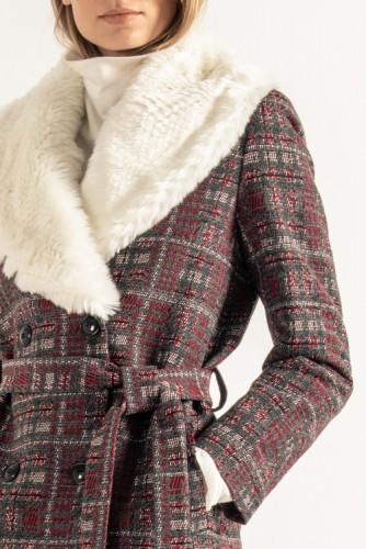 Manteau col amovible